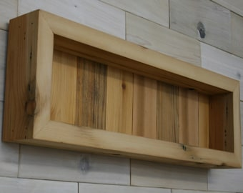 """Reclaimed Wood Shadow Box 22"""" x 6"""" x 2"""" with open face"""