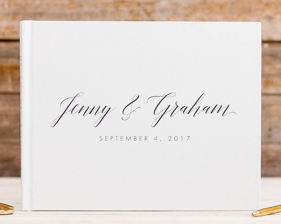 Wedding Guest Book white wedding guestbook rustic wedding guest book wedding album white guest book wedding gift custom guest book ideas
