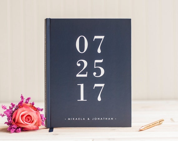 Wedding guest book personalized wedding date guestbook book scrapbook photo book for wedding navy blue sign in hardcover modern guest book