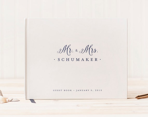Wedding Guest Book landscape Guestbook horizontal wedding book hardcover wedding guestbook wedding planner instant photo book Mr. and Mrs.