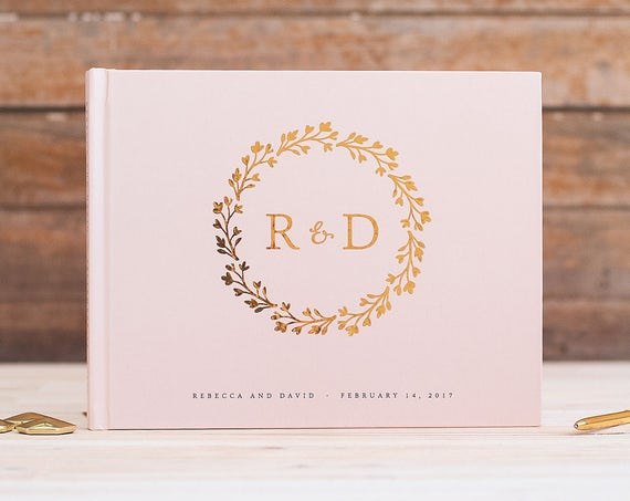 Wedding Guest Book Alternative  Gold Foil horizontal wedding guestbook monogram wreath gold foil photo guestbook for wedding gold guest book