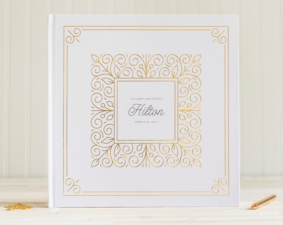 Wedding Guest Book with Real Gold Foil wedding guestbook wedding photo book instant photo book wedding sign in book hardcover guest book