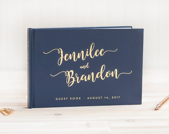 Wedding Guest Book Navy Blue Wedding Guestbook Gold Foil Custom Guest Book Personalized Guest Book Wedding Guest Book Wedding Photo Book