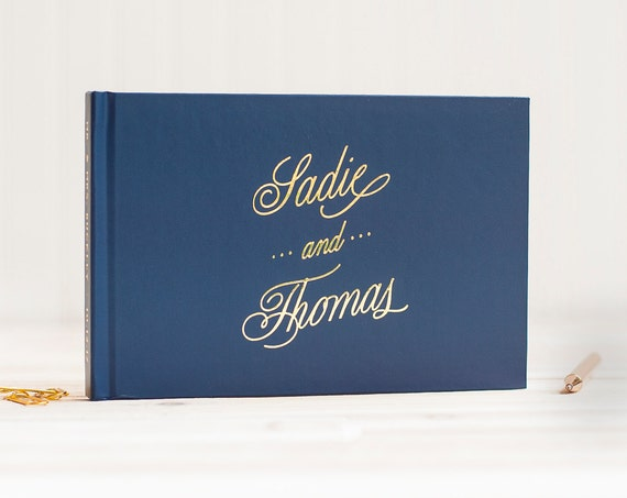 Wedding Guest Book landscape wedding guestbook horizontal wedding photo book Gold Foil guest book wedding photo guest book adventure journal