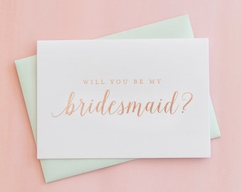 Rose Gold Foil Will You Be My Bridesmaid card proposal gift bridesmaid invitation box bridal party card foil stamped notecard wedding card