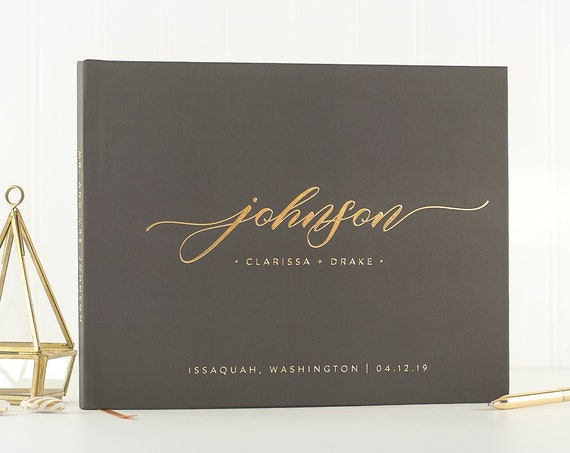 Wedding Guest Book gray and gold wedding guestbook wedding sign in book custom guest book ideas wedding album instant photo book photo booth