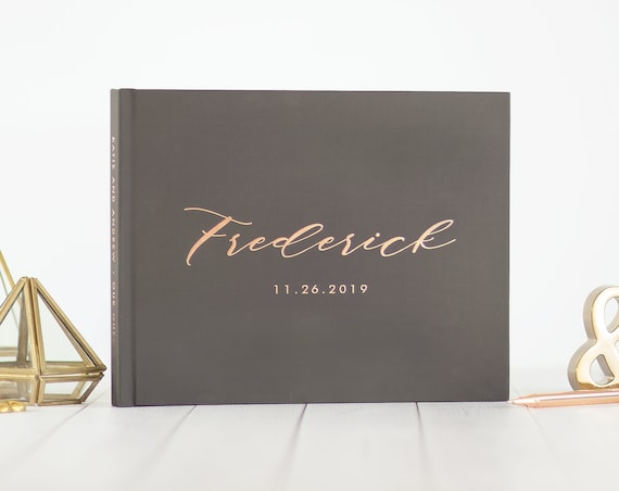 Rose Gold Foil Wedding Guest Book wedding guestbook personalized wedding photo book gray and gold sign in book guest book wedding reception