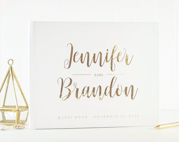 Gold Wedding Guest Book Wedding Guestbook gold foil Guest Book Custom Guest book Rustic Wedding Guest Book Ideas gold wedding photo album