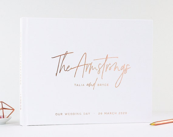 Wedding Guest Book wedding guestbook Rose Gold Foil wedding sign in book custom guest book wedding instant photo booth Bridal Shower Book