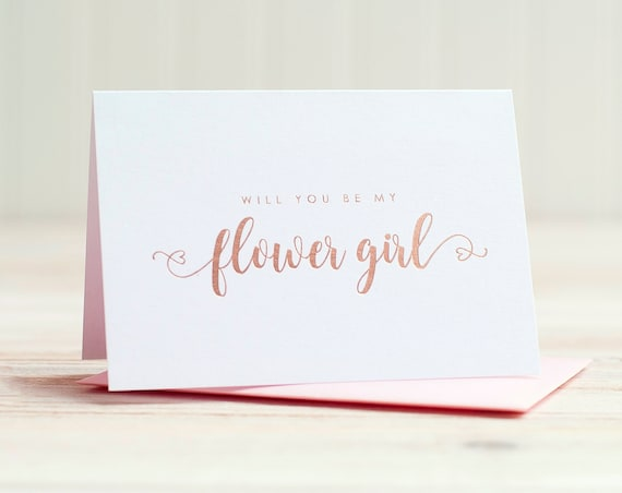 Will You Be My Flower Girl Card Rose Gold Foil ask flower girl proposal gift box wedding party card flower girl invitation blush pink heart