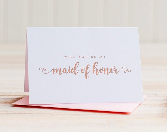 Will You Be My Maid of Honor Card Rose Gold Foil ask maid of honor proposal gift box wedding party card maid of honor invitation blush pink