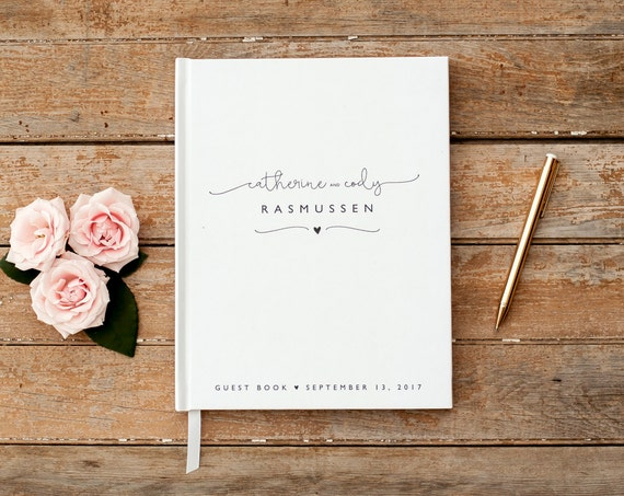 Wedding Guest Book classic black and white personalized names lined pages black pages hardcover wedding guestbook wedding photo book rustic