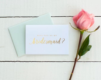Gold Foil Will You Be My Bridesmaid card bridesmaid proposal bridal party gift bridesmaid gift wedding party card gold bridesmaid invitation