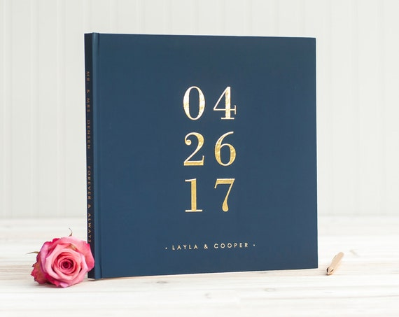 Navy and Gold Wedding Photo book with Real Gold Foil Wedding Reception Book, SIgn in Book, Wedding Registry  Book, Navy Guest Book Gold Foil