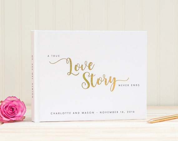 Wedding Guest Book landscape horizontal wedding book with Real Gold Foil personalized hardcover guestbook Love Story instant photobooth book