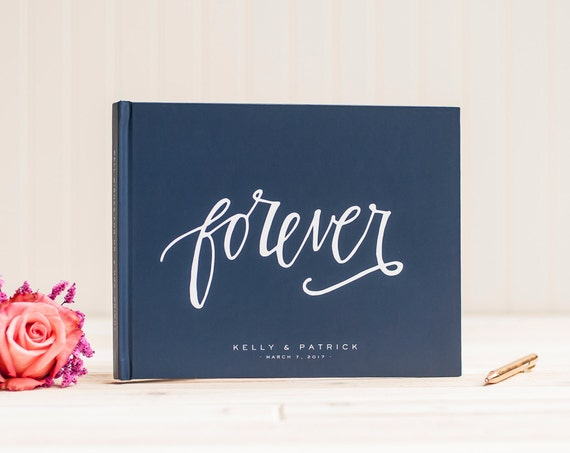 Wedding Guest Book landscape horizontal navy wedding guestbook personalized hardcover book planner lined black pages instant photo booth