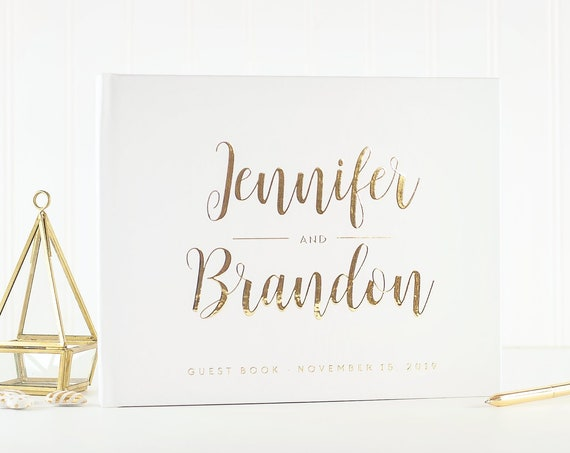 Wedding Guest Book Wedding Guestbook gold foil Guest Book Custom Guest book Rustic Wedding Guest Book Ideas gold foil wedding photo album