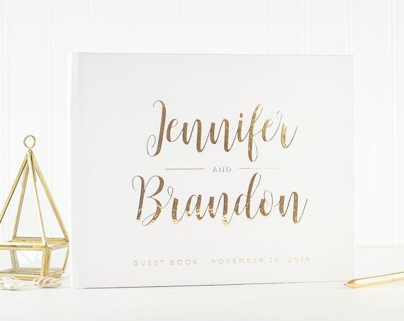 Wedding Guest Book Gold Foil, White Guest Book for Wedding, Guestbook Ideas for Wedding Reception Guest Book, Gold Foil Wedding Guestbook