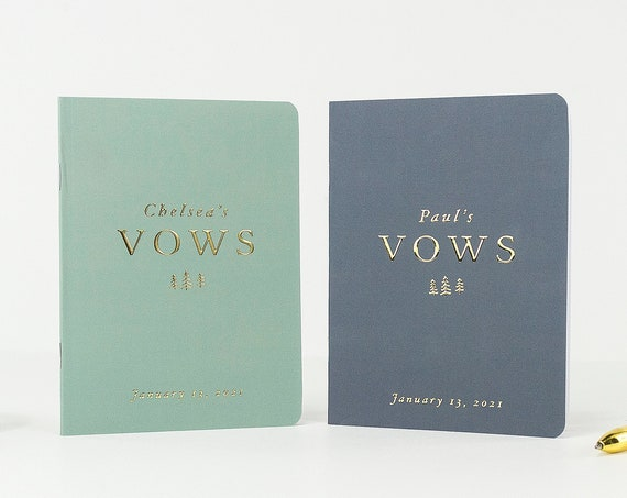Wedding Vow Books for Woodland Wedding, Custom Vow Book Set, His and Hers Vows, Personalized Vows, Vow Booklets with Gold Foil, Custom Vows