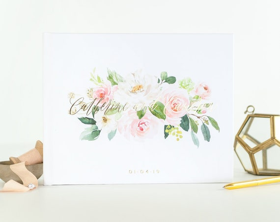 Wedding Guest Book wedding guestbook Gold Foil landscape guest book for wedding photo book wedding album guest book custom guest book floral