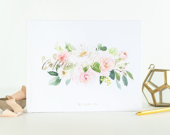 Gold Foil Wedding Guest Book wedding guestbook landscape guest book for wedding photo book wedding album guest book custom guest book floral