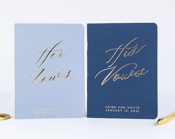 Wedding Vow Book, Wedding Vow Books Personalized Vow Books Blue Vow Books Marriage Vow Books Gold Vow Booklets Personalized Vows His and Her
