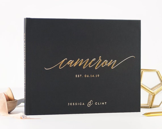 Wedding Guest Book wedding guestbook black and gold wedding sign in book custom guest book idea wedding album instant photo book photo booth