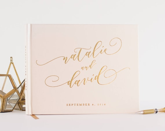 Gold Foil Wedding Guest Book landscape horizontal wedding book wedding guestbook instant photo book personalized names guest book wedding