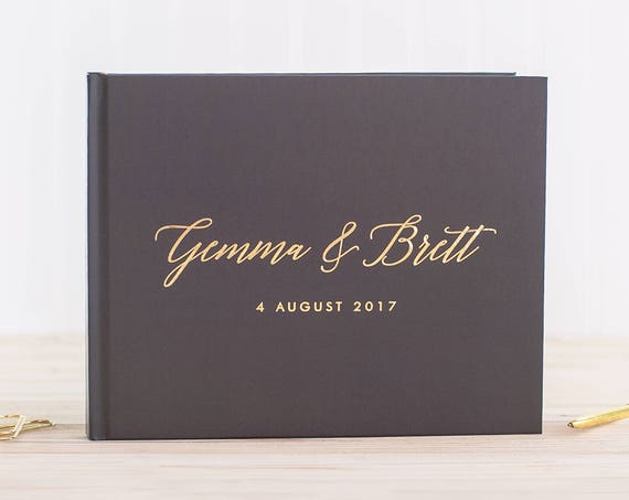 Wedding Guest Book with Real Gold Foil wedding guestbook wedding photo book for wedding guestbook wedding photo book gold wedding book gray