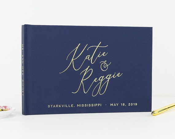 Wedding Guest Book, Wedding Guestbook, Gold Foil Guest Book Ideas, Elegant Guest Book, Sign in Book, Custom Guest Book, Photo Guest Book