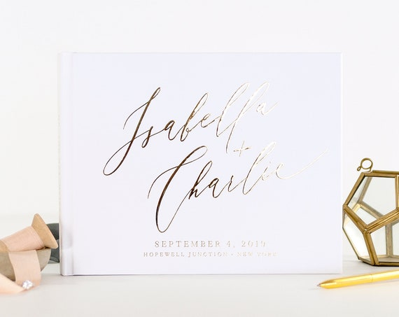 Wedding Guest Book wedding guestbook Gold Foil custom guest book wedding photo book personalized wedding planner book instant photo booth