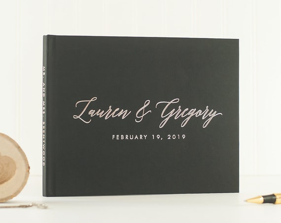 Wedding Guest Book landscape horizontal wedding book with Silver Foil wedding guestbook custom guest book wedding photo book silver wedding