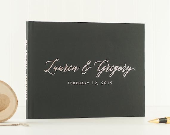 Wedding Guest Book landscape horizontal wedding book with Silver Foil wedding guestbook custom guest book wedding photo book silver wedding