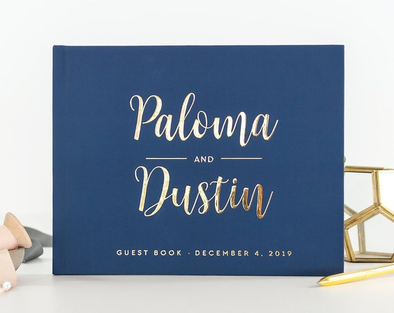 Navy and Gold Wedding Guest Book wedding guestbook wedding sign in book custom guest book photo booth ideas wedding album instant photo book
