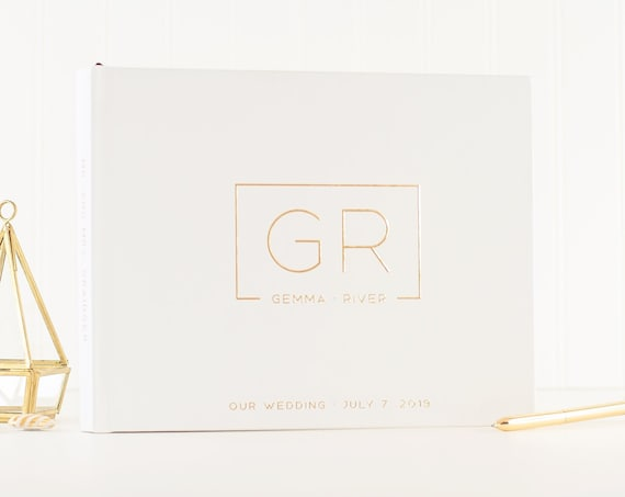Wedding Guest Book white and gold wedding guestbook Gold Foil custom guest book wedding book gold guest book ideas wedding planner book