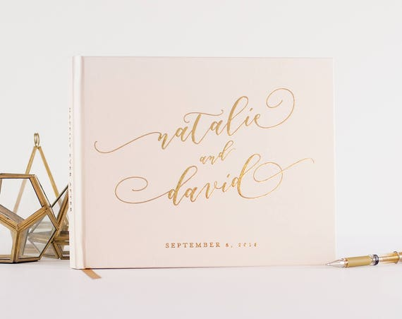 Wedding Guest Book wedding guestbook with Real Gold Foil wedding photo book gold guest book custom guest book for wedding album gold wedding