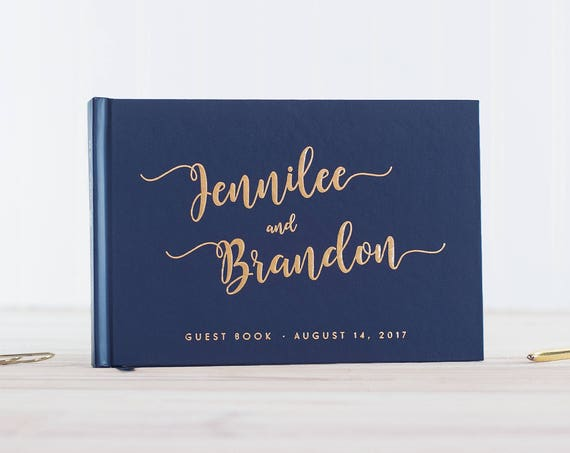 Wedding Guest Book Navy Gold Foil guestbook wedding photo book landscape guest book horizontal wedding book Personalized photo booth book