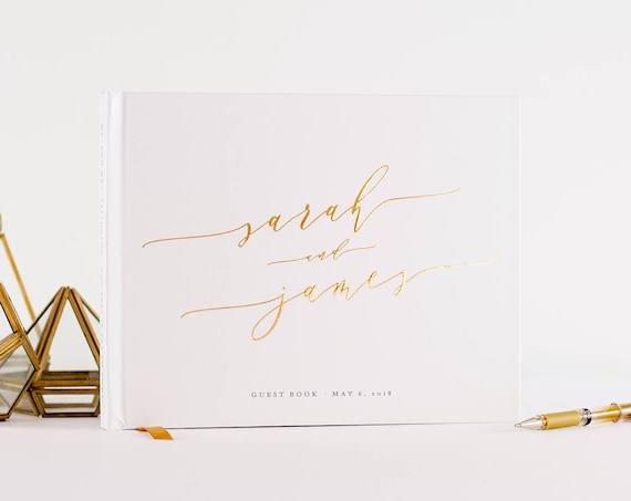 Wedding Guest Book Gold Foil landscape horizontal wedding guestbook wedding book personalized hardcover sign in book photo guest book gold