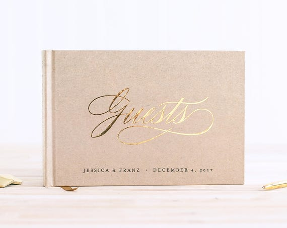 Wedding Guest Book landscape horizontal wedding guestbook wedding book with Real Gold Foil personalized names hardcover guest sign in book