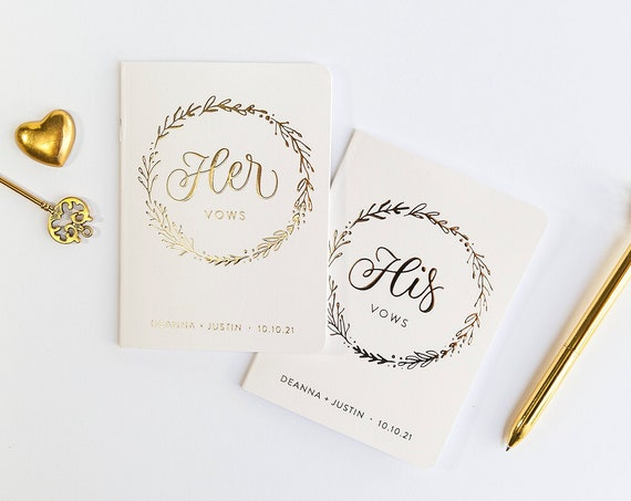 Ivory and Gold Foil Vow Books, Wedding Vow Books with Wreath, Botanical Vow Books His and Hers Wedding Vow Books, Wedding Keepsake for Bride