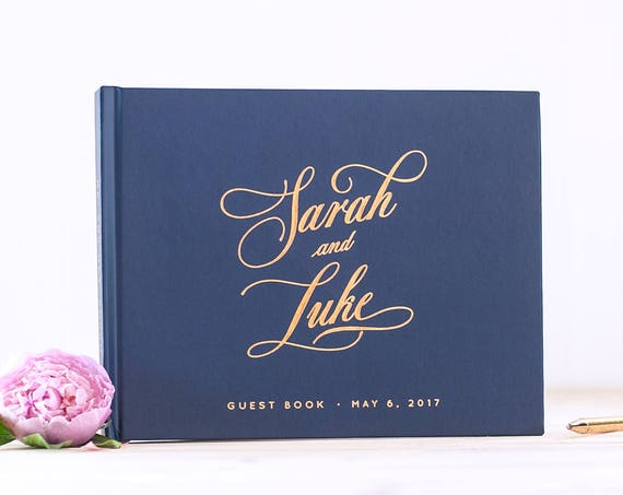 Wedding Guest Book Rose Gold Foil Navy wedding guestbook landscape horizontal wedding photo book personalized guest book wedding reception