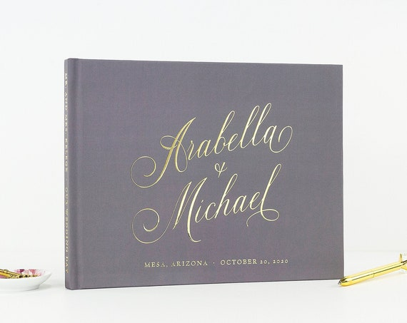 Wedding Guest Book Gold Foil Guestbook Wedding Photo Book, Gray and Gold Party Guest Book Wedding Instant Photo Booth Book, Free Shipping