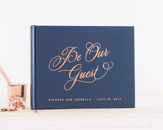 Wedding Guest Book landscape horizontal wedding book with Rose Gold Foil wedding guestbook personalized names photo guest book be our guest