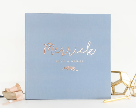 Rose Gold Wedding Guest Book Wedding Guestbook wedding sign in book custom guest book wedding journal Photo Guest Book Dusty Blue Guest Book