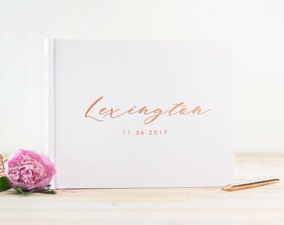 Wedding Guest Book Rose Gold Foil wedding guestbook rose gold guest book wedding photo book custom guest book wedding album rustic guestbook