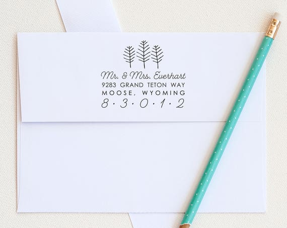 Tree address stamp, return address stamp, rubber stamp, stationery stamp, custom stamp custom address stamp, invitation stamp, eco friendly
