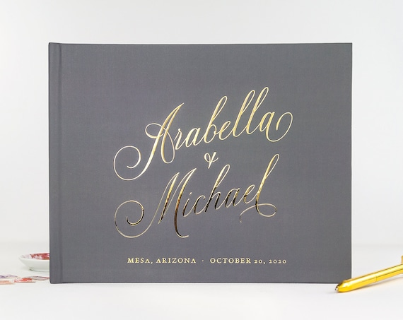Gray Wedding Guest Book, Gold Foil Guest Book Personalized, Custom Guestbook for Wedding, Elegant Calligraphy Guest Book, Photo Booth Book