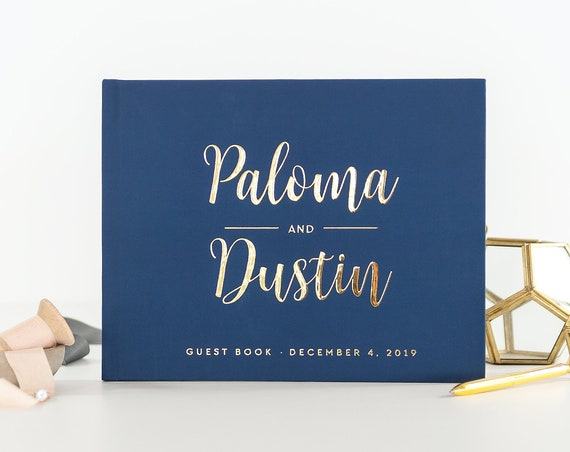 Wedding Guest Book wedding guestbook Navy and Gold wedding sign in book custom guest book photo booth ideas wedding album instant photo book