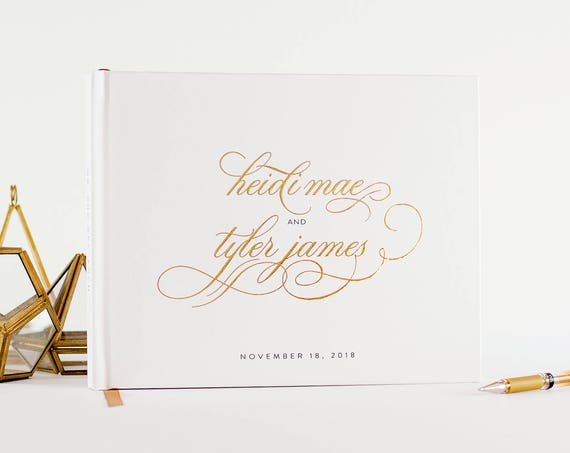 Wedding Guest Book Gold Foil wedding guestbook landscape horizontal gold foil wedding book sign in book personalized names photo guest book