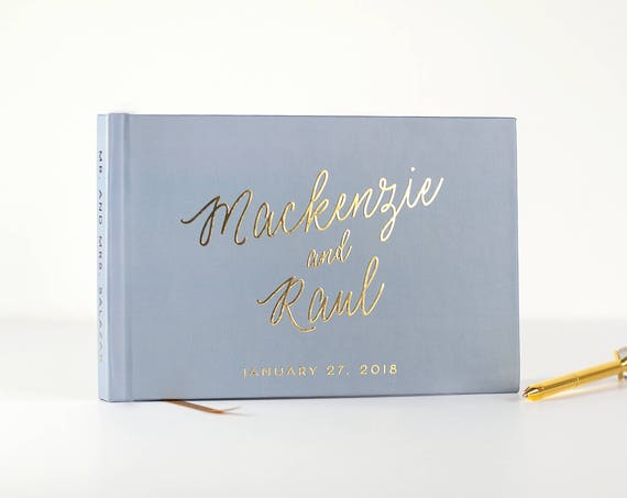 Gold Foil Wedding Guest Book wedding guestbook landscape book for wedding Gold Foil book photo guest book dusty blue modern guest book photo
